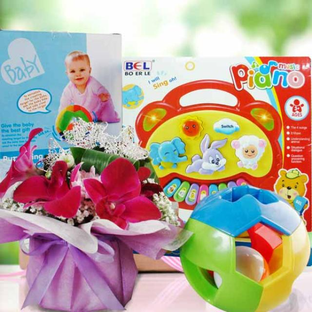 Baby Gift: Keyboard, Puzzle Ring Ball & Orchid