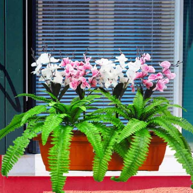 Artificial Flowering Plant in 60cm Long Planter Box.