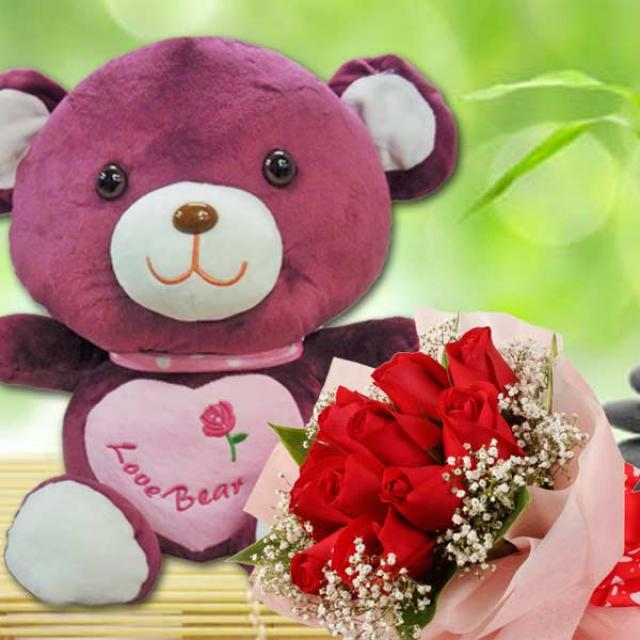 12 inches Scarfed Bear With 12 Red Roses Hand Bouquet