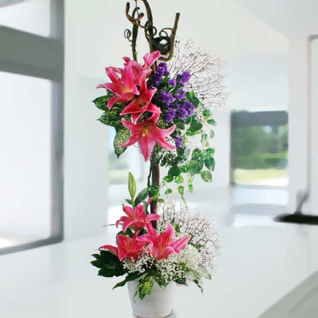 Pink Lilies Table Arrangement Delivery