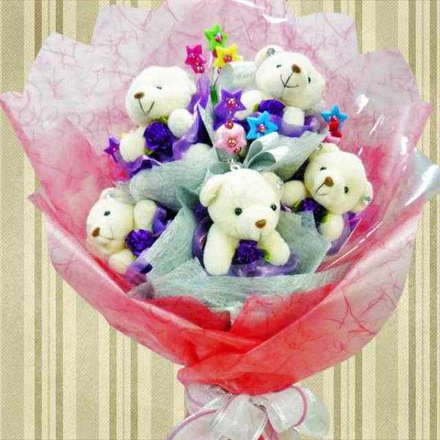"12 Mini-Bear ( 2"" ) Hand Bouquet"