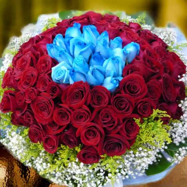 99 Roses ( 80 Red & 19 Blue ) Hand Bouquet