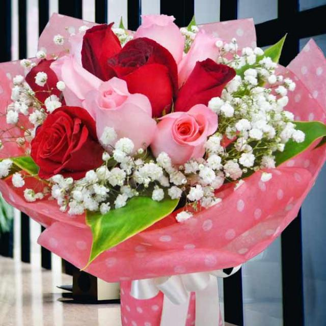 12 Bandon Pink 12 two-tone Red Roses bouquet-1 Day Advance Order