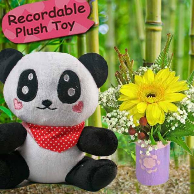Voice Recordable Panda 7 inches Height & Gerbera Standing Bouquet