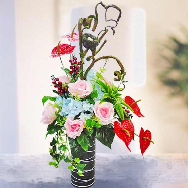 Artificial Tulips & Anthuriums Table Arrangement