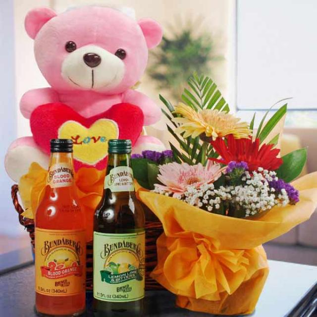 Bear, non-alcoholic beverage & Flowers Gift Basket