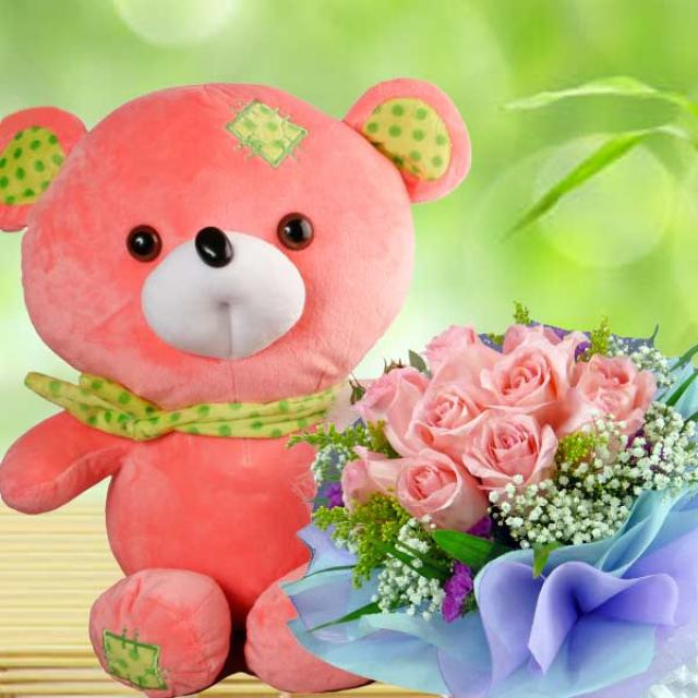 12 Inches Bear with 12 Peach Roses.