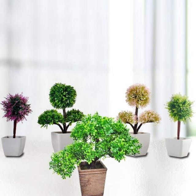 Artificial Mini Topiary Plants ( 5 Pcs )