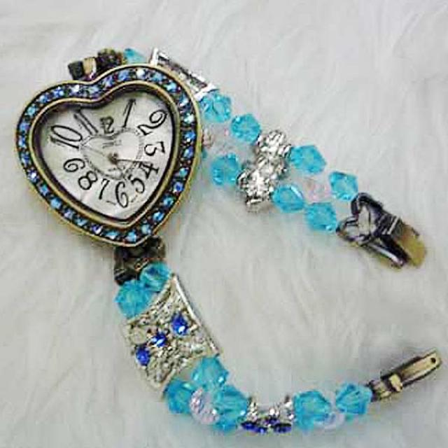 Blue Crystal Heart-Shape Watch