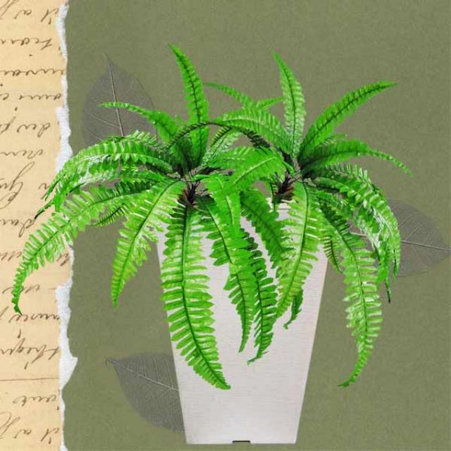 Artificial Boston Fern Bush Plant in Pot 60cm total height