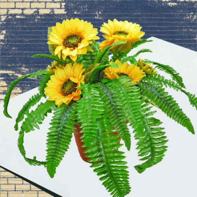 Artificial SunFlowers & Boston Ferns 45cm Height