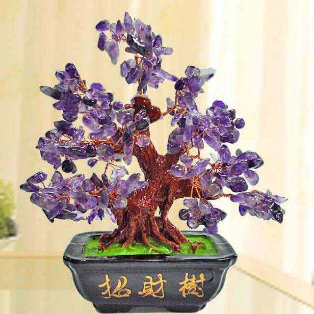 Purple Amethyst Crystal Gem Tree 18cm Height