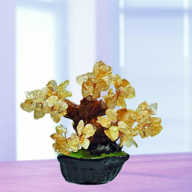 Feng Shui CITRINE Crystal Bonsai Tree 10cm Height