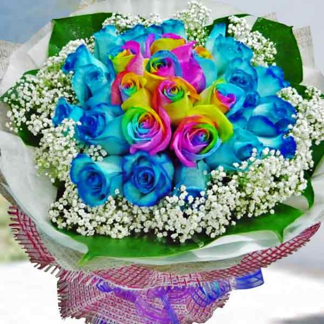 9 Rainbow Roses & 20 Blue Roses Hand Bouquet
