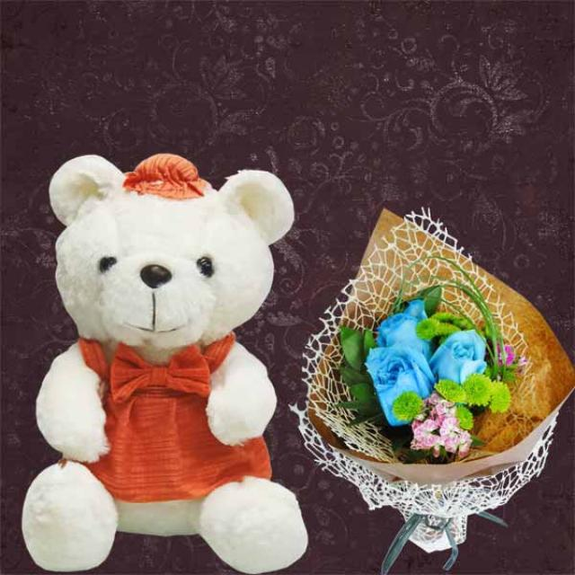 18cm Lavender Pink Bear With Artificial Roses Hand Bouquet