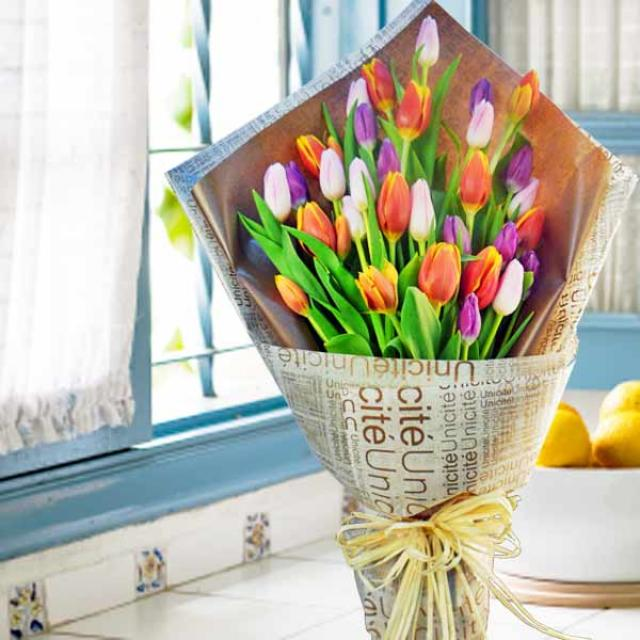28 Mixed Color Tulips Hand Bouquet