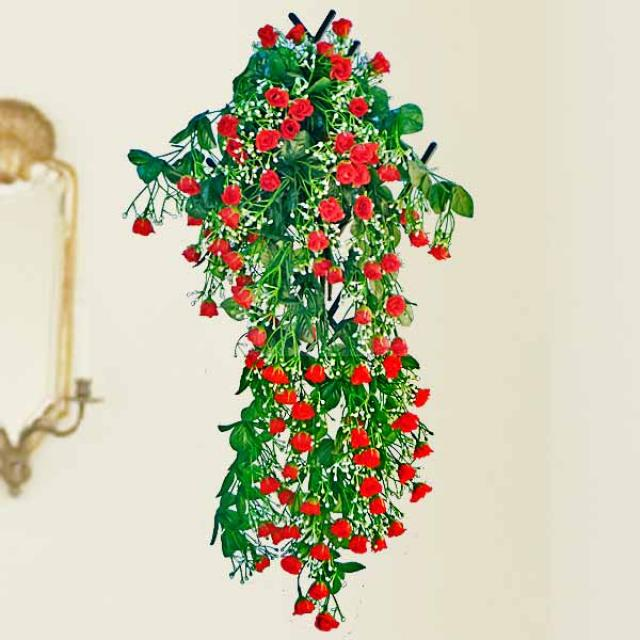 Artificial roses Flowering Hanging Plant