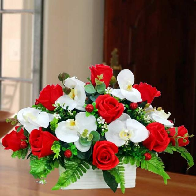 Artificial Phalaenopsis Orchid & Red Roses Flowers Table Arrange