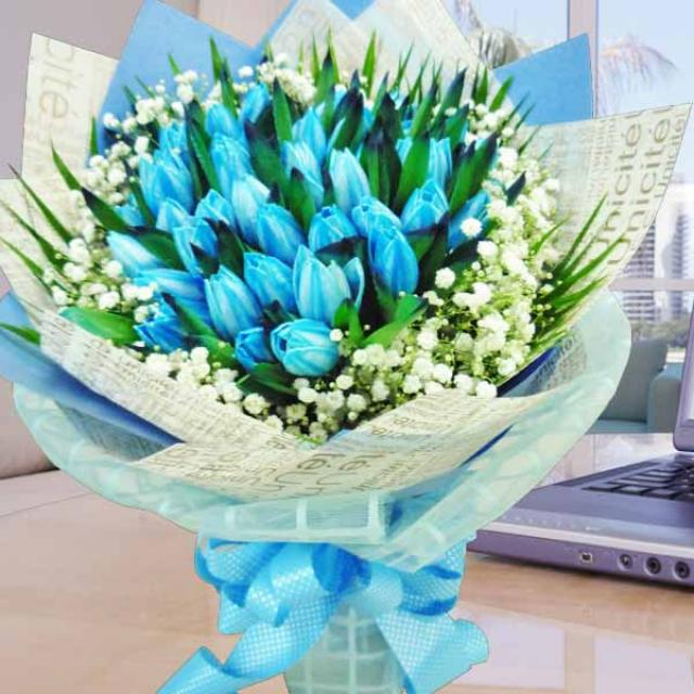 38 Blue Tulips Hand Bouquet