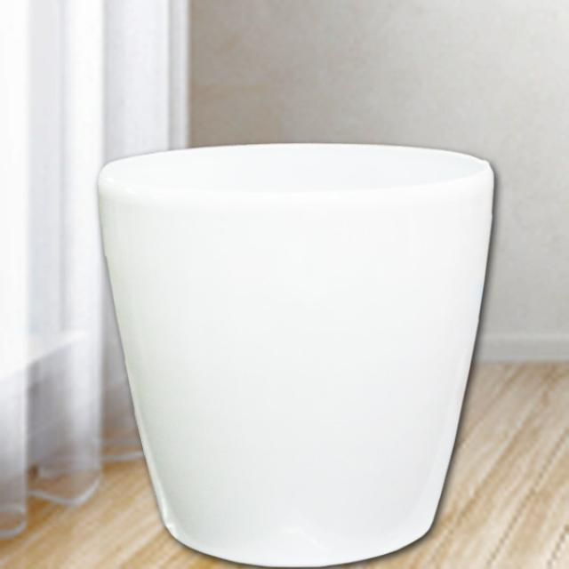 Add-On White Fiberglass Planter 36cm Diameter, 32cm Height.