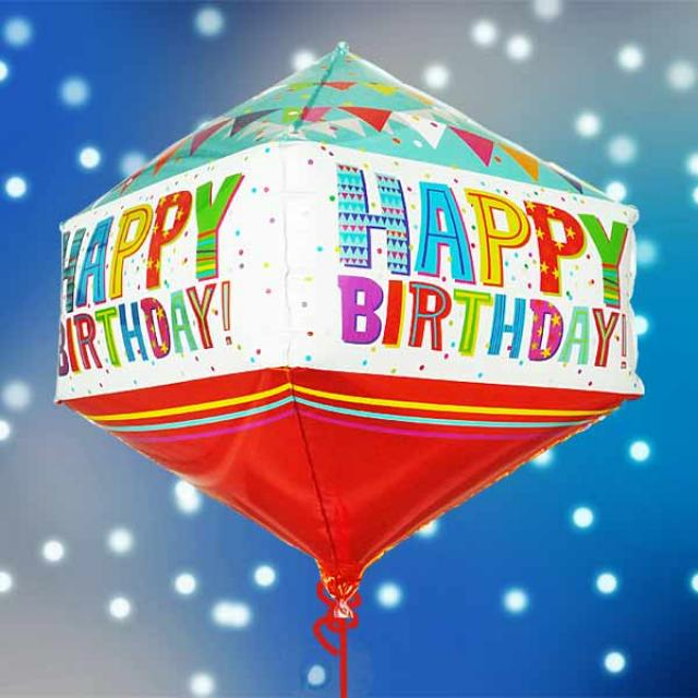 Add-on Helium Rhombus Shape(Diamond Shape) Birthday Foil Balloon 50cm Height