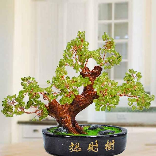 Peridot Gemstone Bonsai Tree 18cm Height 橄榄石宝石盆景