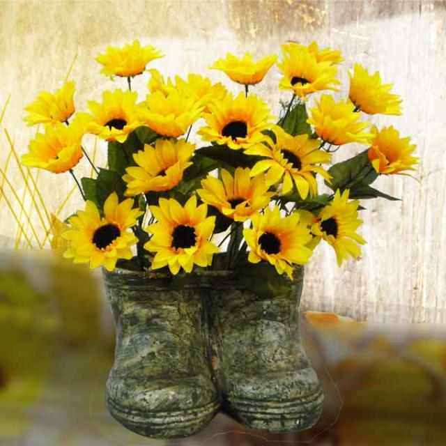 Silk Flower Arrangement with Sunflowers in a Boot Vase. 39cm Height.
