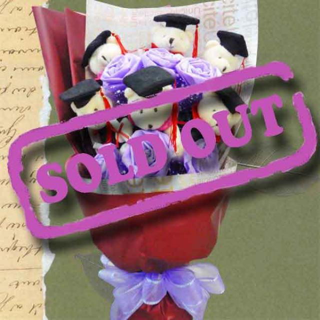 6 Graduation Teddy Bears & Artificial Roses Hand Bouquet