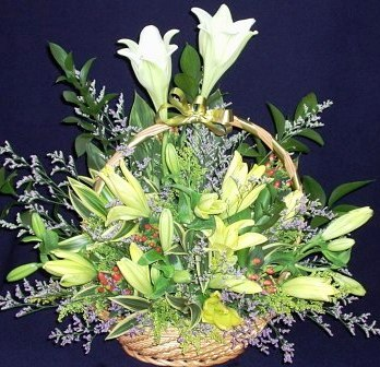Lily White & Yellow Flowers Basket arrangement