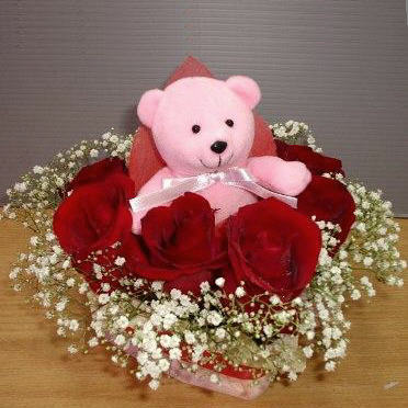 8 Red Roses with Bear at centre table arrangement.
