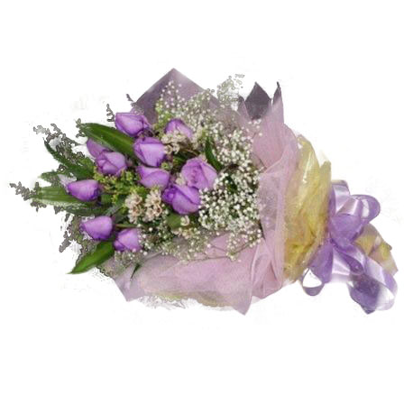 12 Purple Roses Handbouquet