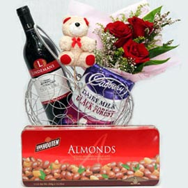 Red Wine, mixed chocolate, 3 Red roses & bear in hear