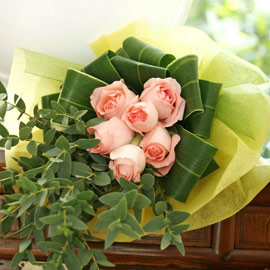 6 Peach Roses with cordyline and Eucalyptus Leaves