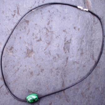 Malachite Pendant With Leather Necklace