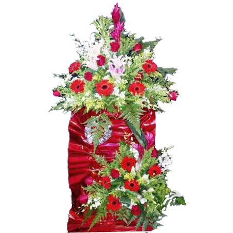 2 tiers metal stand arrangement with Lily red,Gerbera & White or
