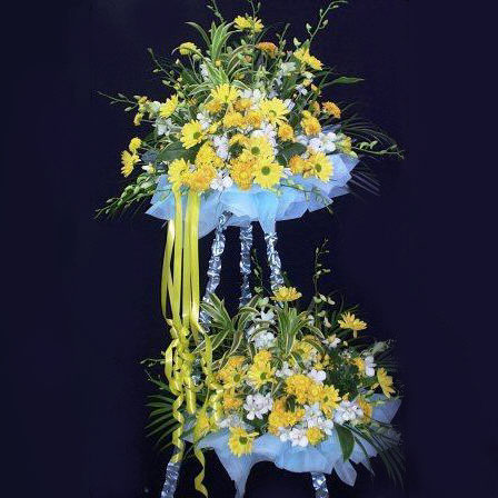 White Orchid & Artificial yellow flowers 2 tiers.