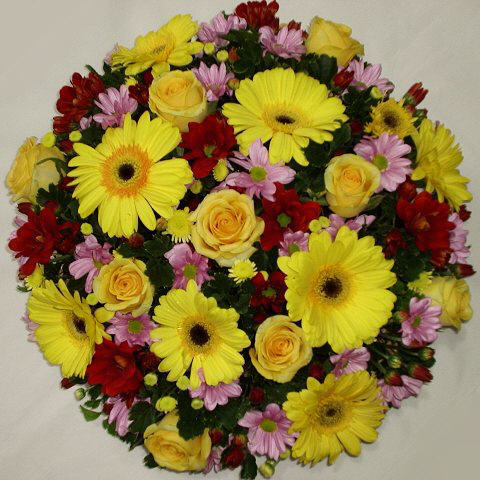 Yellow Roses and Gerbera Center Piece Arrangement.