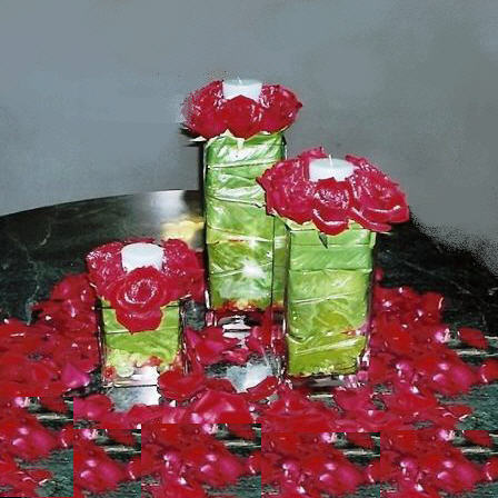 3 Sets of Red roses & Tealight Candle