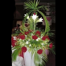 White Lily & Red Roses in Metal stand All Round arrangement