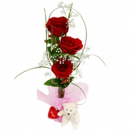 3 Red Roses Standing Bouquet And Bear