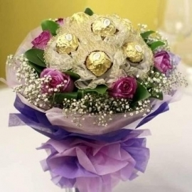 6 purple roses with 6 Ferrero Rocher hand bouquet