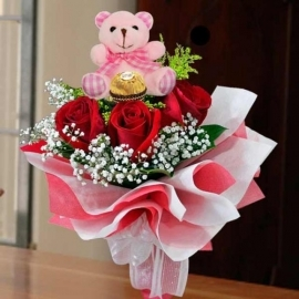 3 Red Roses with Bear and ferrero rocher at the ctr Hand bouquet