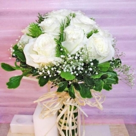 White Roses in Bridal Bouquet