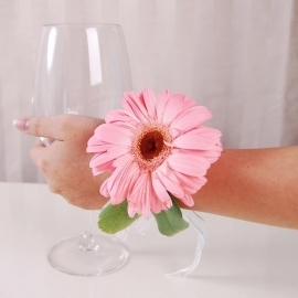 Pink Gerbera Wedding Wristlet