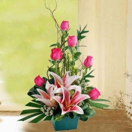 Pink Lilies and Roses