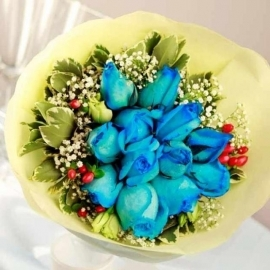 Bouquet of blue Super-roses with eustoma, Hypericum, Babybreath & Pittosporum Foliage ( Kindly