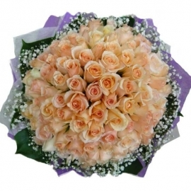 99 Champagne Roses Handbouquet