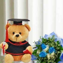 18cm Graduation Bear with 3 Blue Roses Hand Bouquet