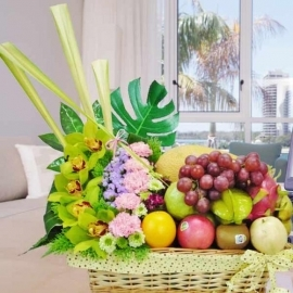 Cymbidium Orchids With Mixed Fruits Basket Hamper