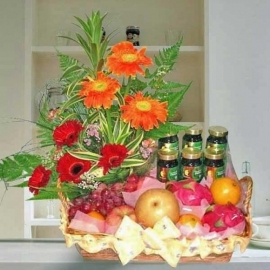 6 Chicken Essence & Fruits With 6 Gerbera Mixed Arrangement